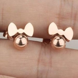 CZ Minnie Mouse Rose Gold Earrings